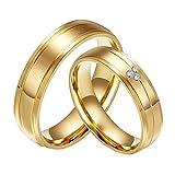 CARTER PAUL alianzas de boda anillo de acero inoxidable del diamante de la CZ 18K del oro de la pareja, las mujeres, Tamaño 17